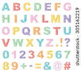 set of alphabet and number... | Shutterstock .eps vector #305162219