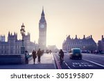 westminster bridge at sunset ... | Shutterstock . vector #305195807