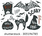 collection of halloween symbols ... | Shutterstock .eps vector #305196785