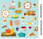 vector thanksgiving food | Shutterstock .eps vector #305203691