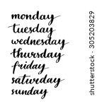 handwritten days of the week ... | Shutterstock .eps vector #305203829