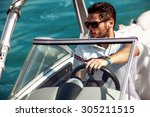 sailing man on yacht in ocean | Shutterstock . vector #305211515