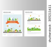 small town and city brochure... | Shutterstock .eps vector #305211611