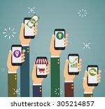 flat design vector illustration ... | Shutterstock .eps vector #305214857