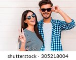 peace out  happy young loving... | Shutterstock . vector #305218004