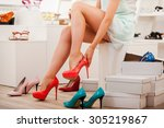 choosing right shoes for today. ... | Shutterstock . vector #305219867