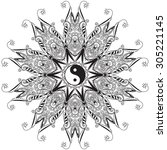 ornament  card with mandala yin ... | Shutterstock .eps vector #305221145