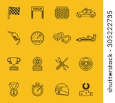 race flag and line racing icons.... | Shutterstock . vector #305222735