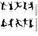 jumping people silhouettes with ... | Shutterstock .eps vector #30522511