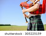 male playing scottish... | Shutterstock . vector #305225159