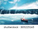 Man On A Boat Facing Tsunami