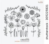 Set Of Flower Doodles.flower...
