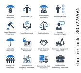 business insurance icons   blue ... | Shutterstock .eps vector #305226965