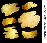 gold foil shining paint stain... | Shutterstock . vector #305227499