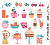 set of berry sweets stuff | Shutterstock .eps vector #305229767