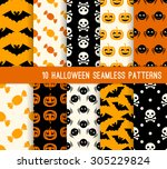 ten halloween different... | Shutterstock .eps vector #305229824