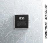 realistic black microchip on...