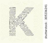 vector mono line style... | Shutterstock .eps vector #305236241