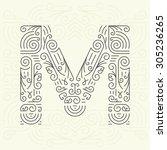 vector mono line style... | Shutterstock .eps vector #305236265