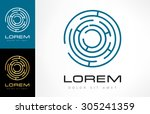 labyrinth abstract. puzzle...   Shutterstock .eps vector #305241359