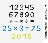 hand drawn numbers | Shutterstock .eps vector #305249375