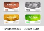 A set of gift (discount) cards with gold, silver, emerald and bronze geometric polygonal background. | Shutterstock vector #305257685