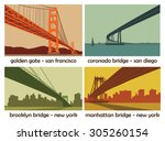 set of four american cities... | Shutterstock .eps vector #305260154