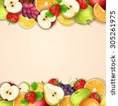 borders made of delicious...   Shutterstock .eps vector #305261975