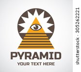pyramid and eye of providence... | Shutterstock .eps vector #305262221