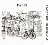 paris cafe | Shutterstock .eps vector #305266991