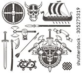 the coat of arms of the vikings.... | Shutterstock .eps vector #305275319