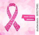 ornate ribbon of breast cancer... | Shutterstock .eps vector #305275481