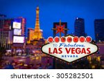 welcome to fabulous las vegas... | Shutterstock . vector #305282501