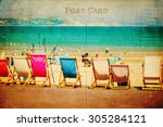 vintage style postcard with a... | Shutterstock . vector #305284121
