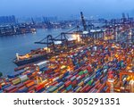 industrial port with containers | Shutterstock . vector #305291351