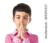 boy pleading over white... | Shutterstock . vector #305291417