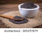 heap of black sesame  close up... | Shutterstock . vector #305297879