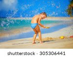 Water Splashes On Excited Kid...