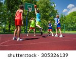 team in colorful uniforms... | Shutterstock . vector #305326139