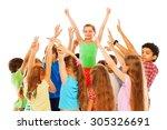 happy girl with raised hands in ... | Shutterstock . vector #305326691