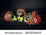 masquerade colorful scary masks  | Shutterstock . vector #305334449