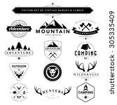 set of vintage  camping badges... | Shutterstock .eps vector #305335409