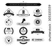 set of vintage camera badges... | Shutterstock .eps vector #305335559