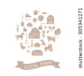 vector set of agriculture icons.... | Shutterstock .eps vector #305341271