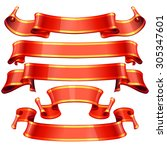 realistic red glossy ribbons... | Shutterstock . vector #305347601