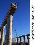 Bridge column and construction - stock photo