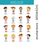 set of diverse kids and... | Shutterstock .eps vector #305365241