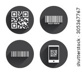 bar and qr code icons. scan... | Shutterstock .eps vector #305367767