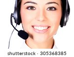 Telemarketing Woman  Isolated...