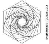 hexagon spiral  line drawing ... | Shutterstock .eps vector #305369615